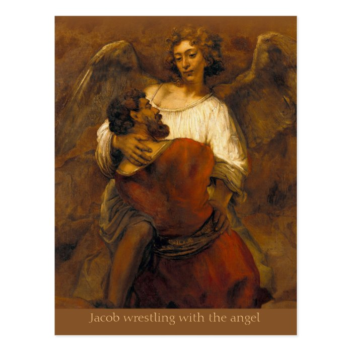 Jacob wrestling with the angel CC0799 Rembrandt Postcard