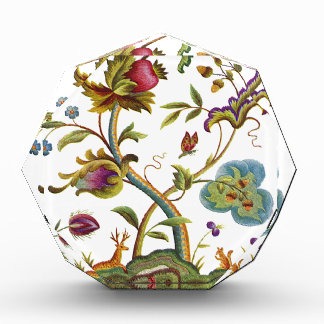Jacobean Crewel Embroidery Tree of Life Acrylic Award