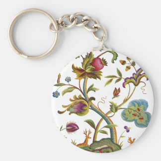 Jacobean Crewel Embroidery Tree of Life Basic Round Button Keychain