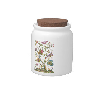 Jacobean Crewel Embroidery Tree of Life Candy Jars