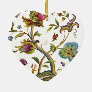Jacobean Crewel Embroidery Tree of Life Ceramic Ornament