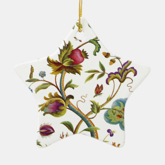 Jacobean Crewel Embroidery Tree of Life Ceramic Ornament
