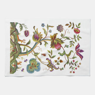 Jacobean Crewel Embroidery Tree of Life Kitchen Towel