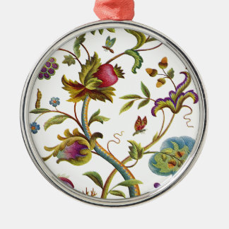 Jacobean Crewel Embroidery Tree of Life Metal Ornament