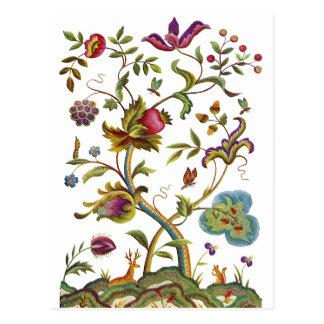 Jacobean Crewel Embroidery Tree of Life Postcard