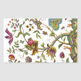 Jacobean Crewel Embroidery Tree of Life Rectangular Sticker