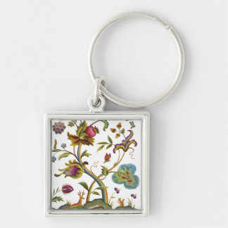 Jacobean Crewel Embroidery Tree of Life Silver-Colored Square Keychain