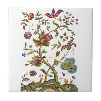 Jacobean Crewel Embroidery Tree of Life Tile