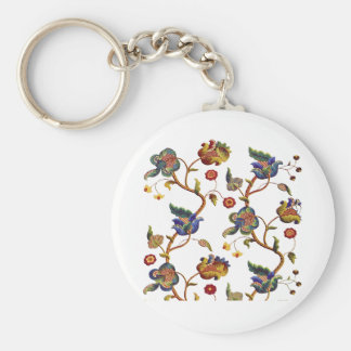 Jacobean Embroidered Albemarle Pattern Basic Round Button Keychain