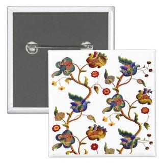Jacobean Embroidered Albemarle Pattern Pinback Button