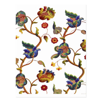 Jacobean Embroidered Albemarle Pattern Postcard