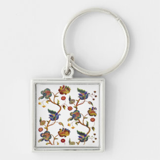 Jacobean Embroidered Albemarle Pattern Silver-Colored Square Keychain