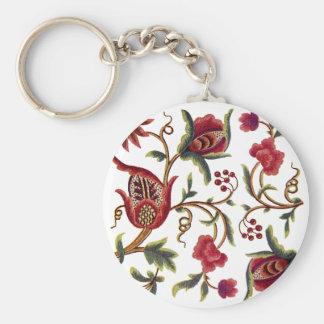 Jacobean Embroidery Keychain