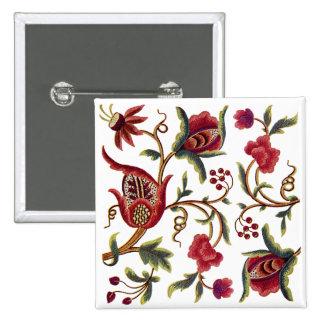Jacobean Embroidery Pinback Button