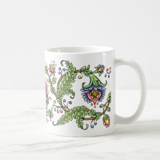 Jacobean Floral Pen and Ink Drawing Mug
