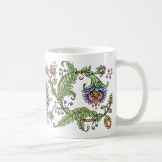 Jacobean Floral Pen and Ink Drawing Mug