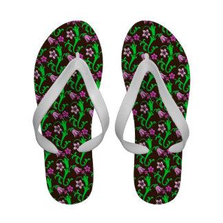 Jacobean floral - pink green chocolate flip flops