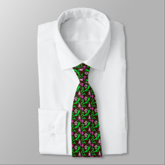 Jacobean floral - pink, green, chocolate tie