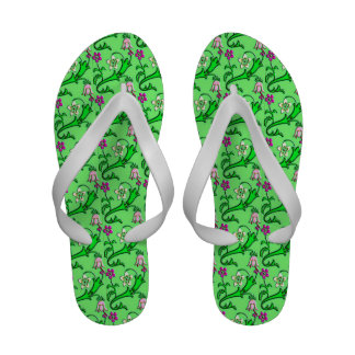 Jacobean floral - shades of pink and green sandals