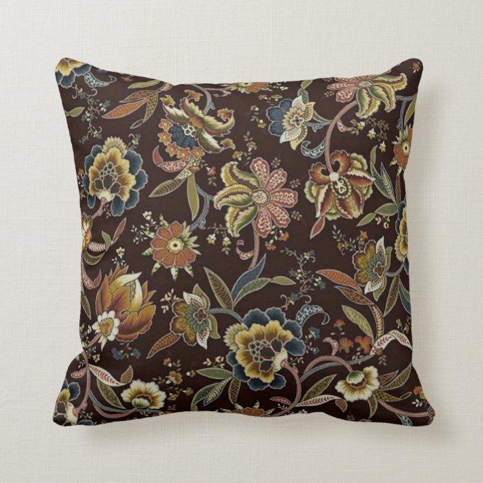 Jacobean Throw Pillows : Jacobean Floral Throw Pillow Zazzle