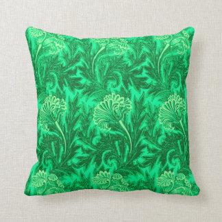 Jacobean Flower Damask, Emerald and Lime Green Throw Pillow