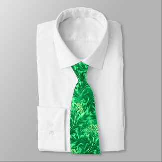 Jacobean Flower Damask, Emerald and Lime Green Tie