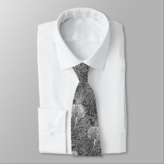 Jacobean Flower Damask, Gray / Grey and White Neck Tie
