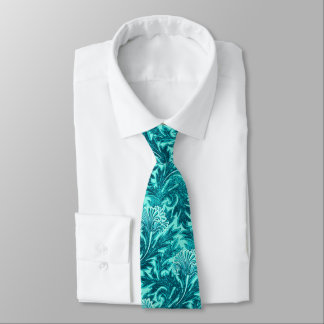 Jacobean Flower Damask, Turquoise and Teal Blue Neck Tie