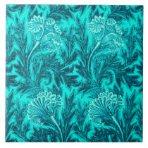 Jacobean Flower Damask, Turquoise and Teal Blue Tile