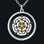 """Jacobite - Stuart - York Rose Silver Plated Necklace<br><div class=""""desc"""">This beautifully stylized British medieval rose,  was used first by the prominent York family,  a similarly styled white rose was used as the Stuart rose at the time of the Jacobite Rebellion in Scotland.</div>"""