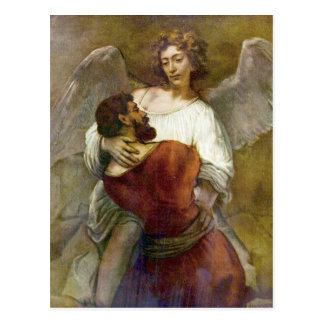 Jacob's struggle with the angel by Rembrandt Postcard