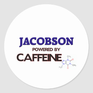 Jacobson powered by caffeine round stickers