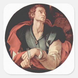Jacopo Pontormo- cuatro evangelistas: Santo Lucas Pegatina Cuadrada