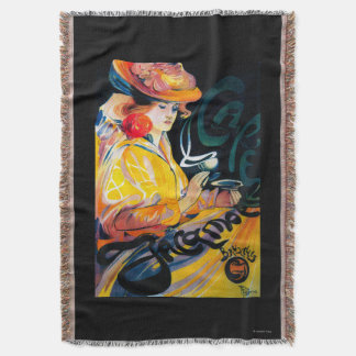 Jacqmotte Caf� Vintage PosterEurope Throw Blanket