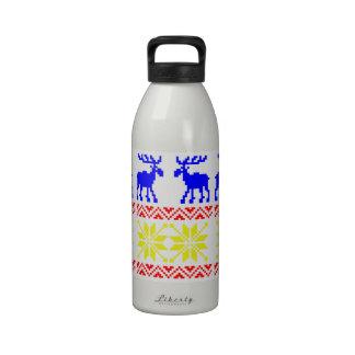 Jacquard Winter Moose Ski Sweater Vintage Pattern Water Bottles