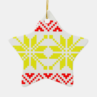Jacquard Winter Moose Sweater Pattern Double-Sided Star Ceramic Christmas Ornament