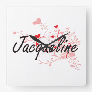 Jacqueline Artistic Name Design with Hearts Square Wall Clock