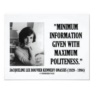 "Jacqueline Kennedy Minimum Information Politeness 4.25"" X 5.5"" Invitation Card"