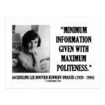Jacqueline Kennedy Minimum Information Politeness Postcard