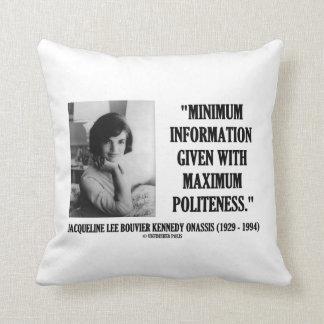 Jacqueline Kennedy Minimum Information Politeness Throw Pillow