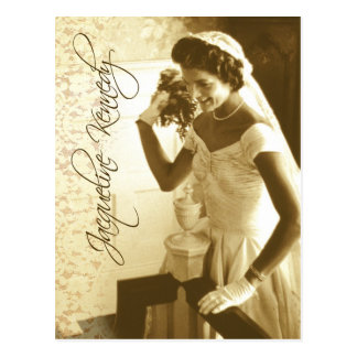 Jacqueline Kennedy throwing her wedding bouquet Postcard