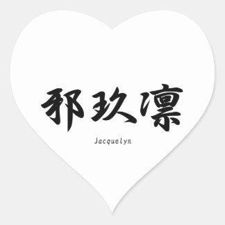 Jacquelyn translated into Japanese kanji symbols. Heart Stickers