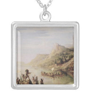 Jacques Cartier Discovering the St. Lawrence Square Pendant Necklace