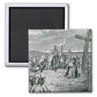 Jacques Cartier que pone una cruz en Gaspe Imán