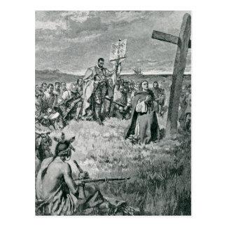 Jacques Cartier que pone una cruz en Gaspe Tarjeta Postal