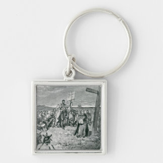 Jacques Cartier  Setting up a Cross at Gaspe Keychain