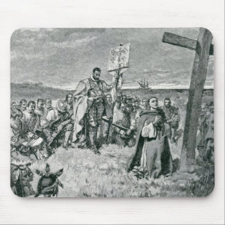 Jacques Cartier  Setting up a Cross at Gaspe Mouse Pad