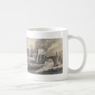 Jacques David: View of Tiber and Castel St. Angelo Mugs
