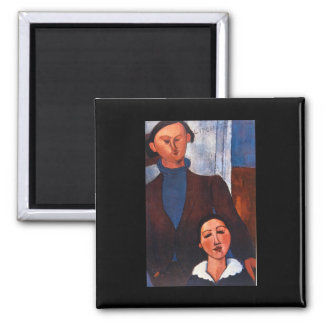 Jacques Lipchitz and his Wife_Portraits 2 Inch Square Magnet