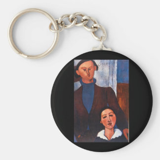 Jacques Lipchitz and his Wife_Portraits Basic Round Button Keychain